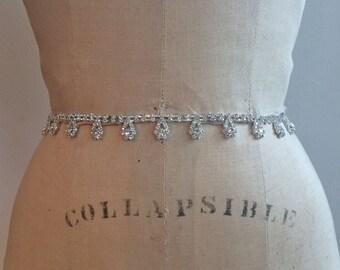 Bridal Belt-Bridal Sash-Bridesmaid Belt-Art Deco Rhinestone Beaded Bridal Sash Belt-Bridesmaid Sash-Vintage Rhinestone Crystal Bridal Sash