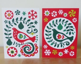 2 x Partridge in a Pear Tree Christmas Cards Scandinavian Eastern European Folk Art Fran Wood Design