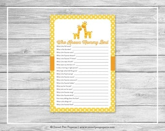 Giraffe Baby Shower Who Knows Mommy Best Game - Printable Baby Shower Who Knows Mommy Best Game - Yellow Giraffe Baby Shower - SP131
