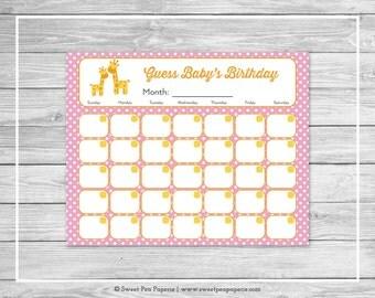 Giraffe Baby Shower Guess Baby's Birthday - Printable Baby Shower Guess Baby's Birthday - Pink Giraffe Baby Shower - Baby Birthday - SP129