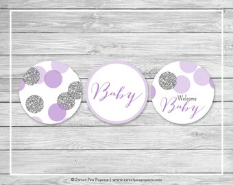 Purple and Silver Baby Shower Cupcake Toppers - Printable Baby Shower Cupcake Toppers - Purple and Silver Baby Shower - Toppers - SP126