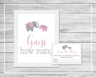 Elephant Baby Shower Guess How Many Game - Printable Baby Shower Guess How Many Game - Pink and Gray Elephant Baby Shower - SP101
