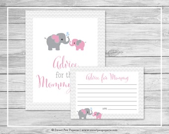 Elephant Baby Shower Advice for Mom Cards - Printable Baby Shower Advice for Mom Cards - Pink and Gray Elephant Baby Shower - SP101