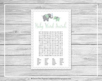 Elephant Baby Shower Baby Word Search Game - Printable Baby Shower Baby Word Search Game - Green and Gray Elephant Baby Shower - SP104