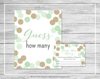 Mint and Gold Baby Shower Guess How Many Game - Printable Baby Shower Guess How Many Game - Mint and Gold Glitter Baby Shower - SP108