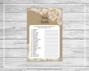 Tan and Lace Baby Shower Baby Babble Game - Printable Baby Shower Baby Babble Game - Tan and Lace Baby Shower - Word Scramble - SP112