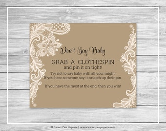 Tan and Lace Baby Shower Don't Say Baby Game - Printable Baby Shower Don't Say Baby Game - Tan and Lace Baby Shower - Don't Say Baby - SP112