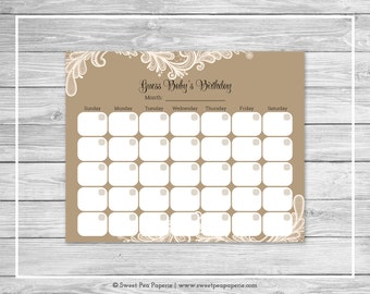 Tan and Lace Baby Shower Guess Baby's Birthday - Printable Baby Shower Guess Baby's Birthday Game - Tan and Lace Baby Shower - SP112