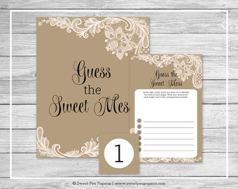 Tan and Lace Baby Shower Guess The Mess Game - Printable Baby Shower Guess The Sweet Mess Game - Tan and Lace Baby Shower - SP112