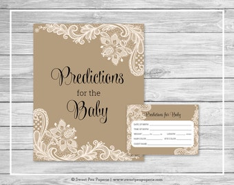 Tan and Lace Baby Shower Predictions for Baby - Printable Baby Shower Predictions for Baby - Tan and Lace Baby Shower - SP112