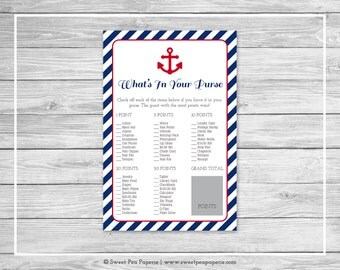 Nautical Baby Shower What's In Your Purse Game - Printable Baby Shower What's In Your Purse Game - Navy Red Baby Shower - Purse Game - SP118