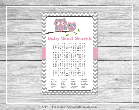 Owl Baby Shower Baby Word Search Game