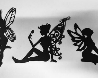 Set of 12 -Fairies silhouette// cupcake toppers // fairy scrapbook and card cutouts// fairy die cuts