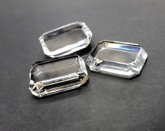 8 Pieces Clear Crystal Glass Cabochons, Unfoiled, Vintage, 25x18mm Octagon