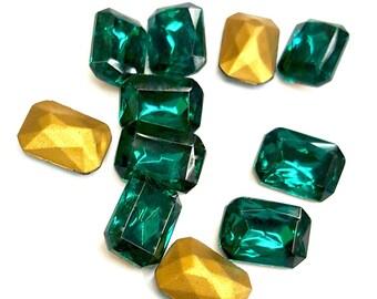 13 Pieces Glass Emerald Octagon Stones, Vintage Czech, 14x10 Octagon