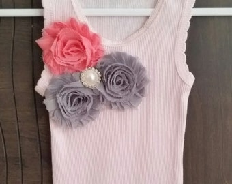 Embroidered baby singlet purple lavender flower pink baby pink embellished baby girl singlet pink singlet handmade singlet embellished baby singlet negle Images