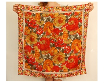 Floral shawl - orange red vintage scarf