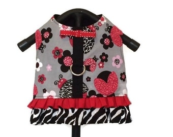 Dog Dress, Dog Clothes, Harness Dog Dress, Ladybug Dog Dress, Dog Harness, Small Dog Clothes, Harness Vest, Dog Vest, Zebra Print Dog Dress
