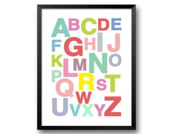 ABC poster, alphabet print, capital letters, modern nursery art, size A4 A3, kids room wall decor, abc wall art by Modern kids gallery-501