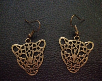 Leopard earrings - Bronze leopard earrings-leopard jewelry