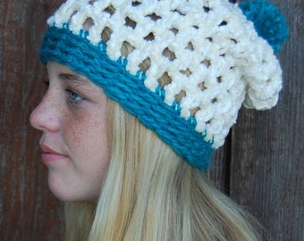 Chanille fun slouch hat with pom pom