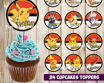 24 Pokemon Cupcakes Toppers instant download, Printable Pokemon cupcakes Topper, Pokemon toppers printable, 2 INCHES