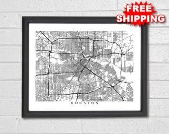 Houston Map Art - Black and White - Texas - Custom Map - Personalized - Map Print - Housewarming Gift - Anniversary Gift - NASA - Decor
