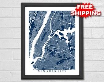 New York City Map Art - Map Print - New York - NYC - Travel Gift - Manhattan Map - Office Decor - Gift - Home - Map of New York - Custom Map