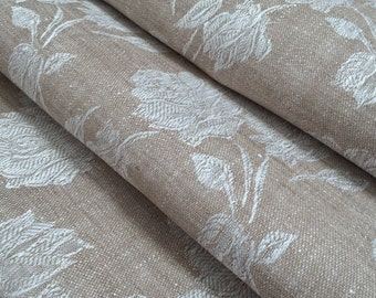 Linen Fabric, Natural Linen Fabric with Roses, Fabric by the Yard