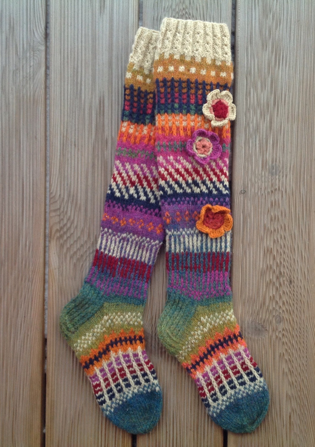 Knitting Pattern For Over The Knee Socks : Wool socks Hand knit Knee high socks socks Crochet flowers