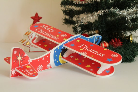 Red airplane Christmas ornament Christmas 2017 First baby's Christmas Kids room decor Personalised plane Christmas tree decor Christmas toys