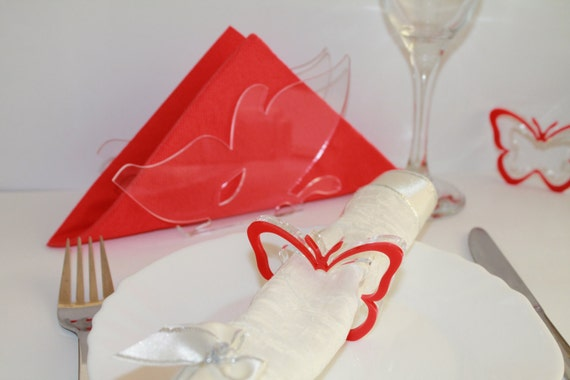 Napkin Rings Red Butterfly Wedding Napkin Ring Holders Table napkin rings Kitchen holder Set of 6 Rings and one Napkin Holders Party favours