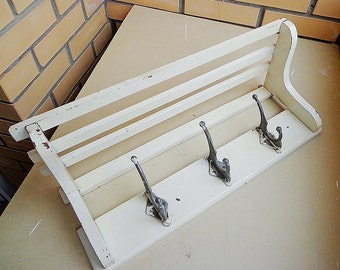 White wooden coat rack, old soviet wall hanger vintage
