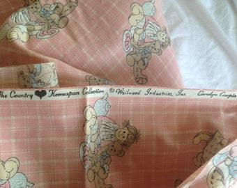 """TEA PARTY Fabric Weilwood Ind,Carolyn Carpin 'The Country Homespun Collection' Cotton Blend.  45 x 36"""" Vintage"""