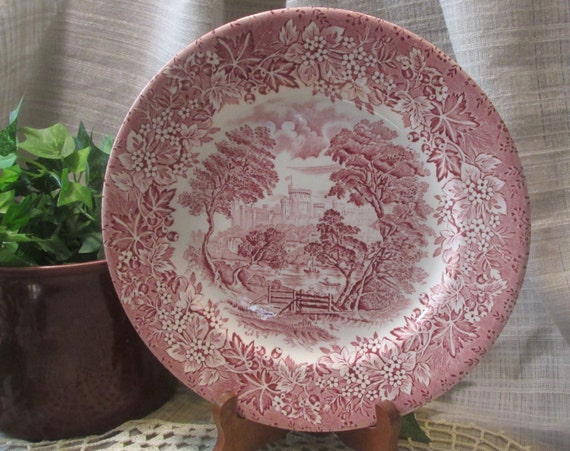 England Ironstone, Pink Castle Replacement Plate,Red Transferware, Pink English Vintage Dinner Plate, Shabby Chic Cottage Kitchen Decor