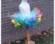 Rainbow tutu, candyland birthday outfit, candy land tutu, rainbow birthday outfit, rainbow ribbon trim tutu, colorful tutu, birthday tutu