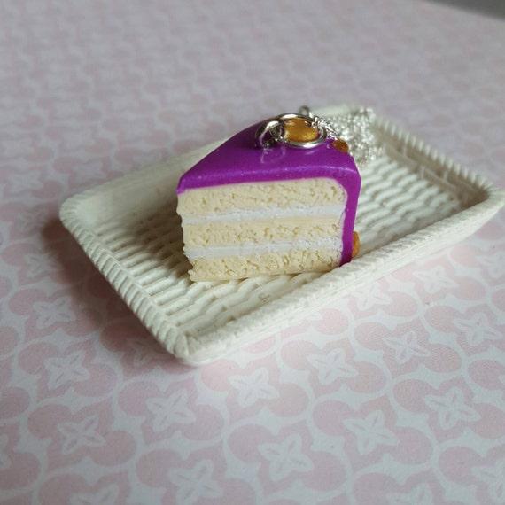 Cake necklace purple cake slice necklace food by chapelviewcrafts