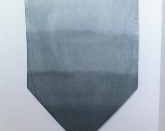 """Ombre dyed cotton canvas table runner 14x52 """"Pewter"""" gray"""