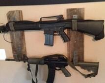 Reclaimed barn wood and steel rustic gun rack