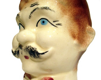 Vintage Japn Head Vase Man with handlebar mustache wearing a Polka Dot Tie Product  Product No 254021