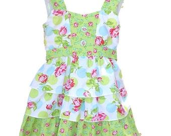 ruffled dress girls SIZE 4-5,  Caroline dress, girls dress, floral ruffled dress girls, 3 tiered ruffled dress girls