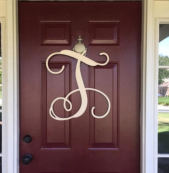 single letter wooden monogram letters home decor door. Black Bedroom Furniture Sets. Home Design Ideas