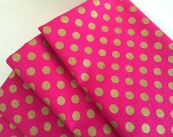 February Hot Pink w/Gold Polka Dots, Cloth Dinner Napkins, Valentine's, Winter Table Decor. Cotton & Bling. Eco Friendly Set of 4