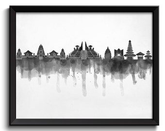Bali Skyline Indonesia Asia Cityscape Art Print Poster Black White Grey Watercolor Painting