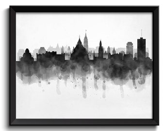 Ottawa Skyline Ontario Canada Cityscape Art Print Poster Black White Grey Watercolor Painting