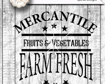 Farmer Mercantile Sign Stencil, Quotes Garden Digital Cutting design Digital Vinyl Stencil, Wood Sign Stencil SVG Cut File Silhouette Studio