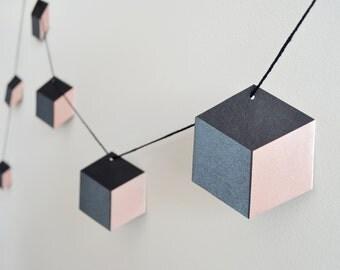 Geometric Garland. Black/Charcoal/Blush