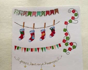 Christmas Banner Stickers for Planners