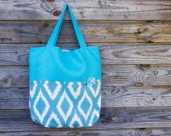 Mini Tote bag, Polyester Cotton/Linen bag, Grocery Reusable Bag, Small Bag, Blue and White Bag