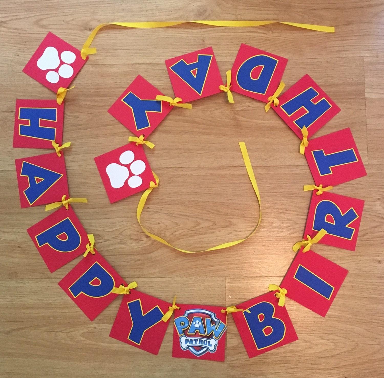 Paw Patrol Banner Birthday Banner Childs Birthday Decor